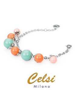 BROSWAY Bracciale in acciaio con perle colorate pendenti serie FLEUR cod. BFE11