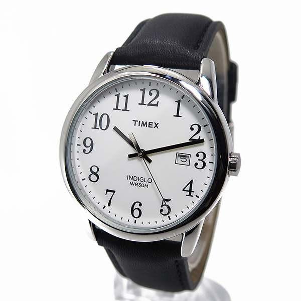 TIMEX OROLOGIO UOMO ACCIAIO CINTURINO PELLE NERO LUCE EASY READER TW2P75600
