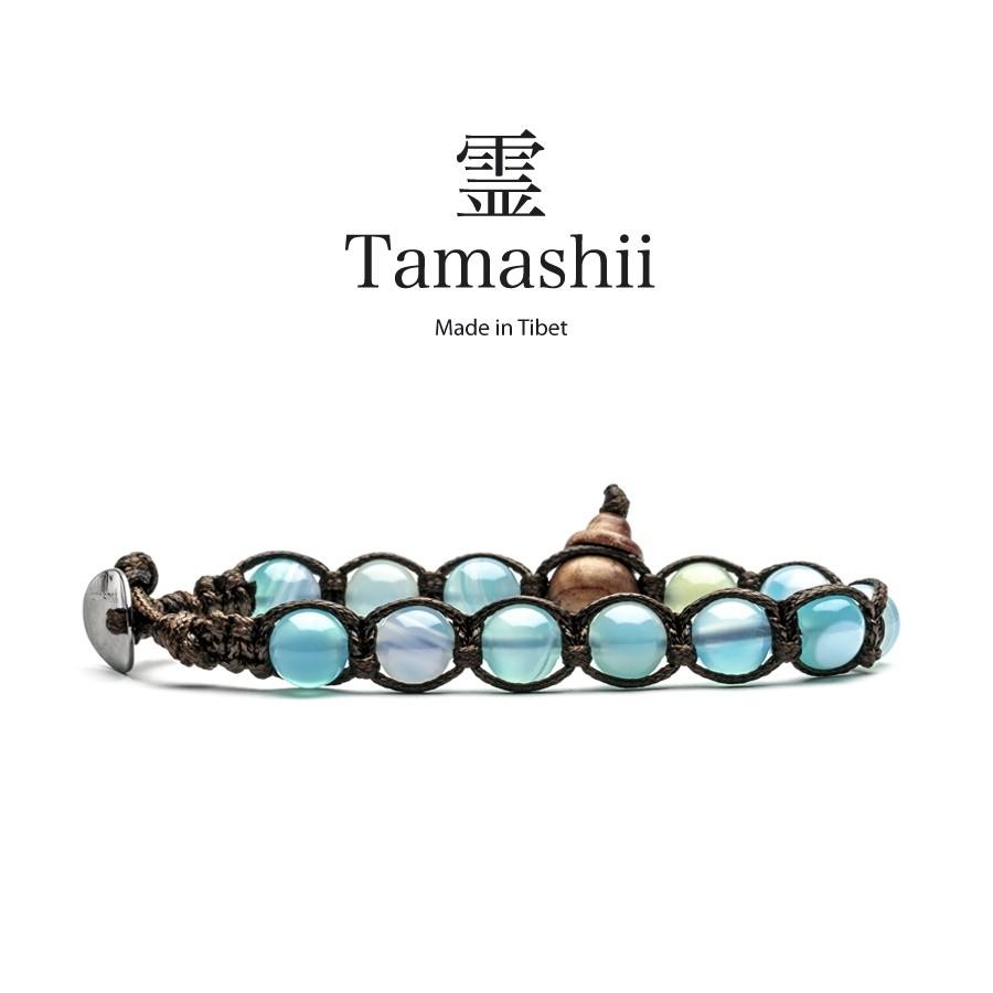 Novità TAMASHII: Bracciale unisex originale tibetano, AGATA LACE SKY BLUE, BHS900-165