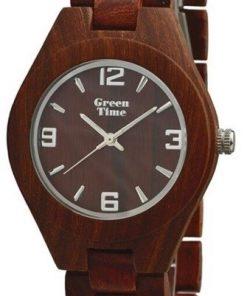 GREEN TIME BY ZZERO: Orologio unisex solo tempo in LEGNO SANDALO rosso, ZW050A