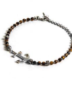 CESARE PACIOTTI: Bracciale uomo THREE CARAVELS in ARGENTO 925 stile rosario con ANCORA lavorata, JPBR1356B
