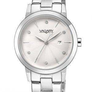 VAGARY BY CITIZEN: Orologio donna FLAIR solo tempo in acciaio con ZIRCONI, IU1-719-11