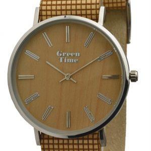 GREEN TIME BY ZZERO: OROLOGIO VEGANO in LEGNO e acciaio con cinturino vegano, ZW046B