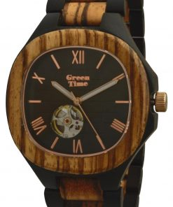 GREEN TIME BY ZZERO: OROLOGIO MECHANICAL unisex in LEGNO ZEBRANO e SANDALO con movimento AUTOMATICO made in Italy, ZW073A