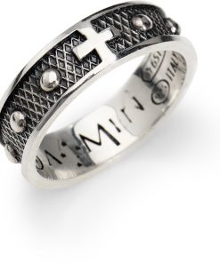 A-MEN novità ROSARI: Anello unisex in ARGENTO 925 brunito con segno di croce misura 24, acr2-24