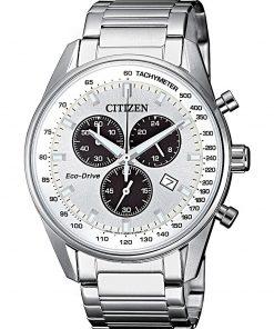 CITIZEN CHRONO: Orologio uomo cronografo movimento ECO DRIVE in acciaio, AT2390-82A