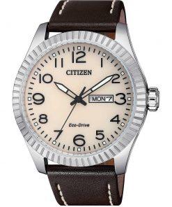 CITIZEN URBAN: Orologio uomo solo tempo con movimento ECO DRIVE e cinturino in pelle, BM8530-11X
