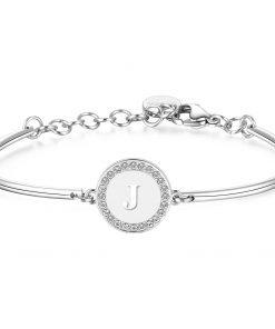 BROSWAY CHAKRA: Bracciale donna rigido in acciaio lettera J con SWAROVSKY crystal, BHK133