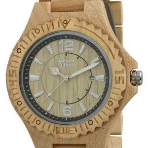 GREEN TIME BY ZZERO: Orologio uomo solo tempo in LEGNO ACERO, ZW057B