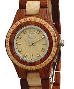 GREEN TIME BY ZZERO: Orologio donna solo tempo in legno sandalo con cristalli, ZW075A