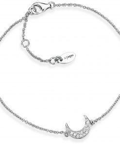 A-MEN: Bracciale donna in argento 925 luna con zirconi, lunghezza 19 cm regolabile, brm